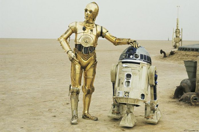 Star Wars C3-PO and R2-D2 in the desert