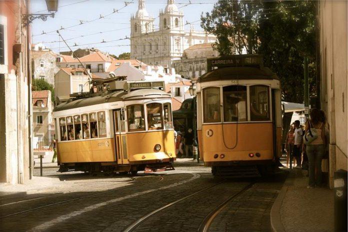 Old trams - tram depot - vintage photo