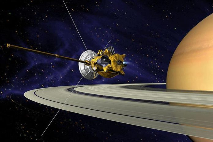 Cassini robotic spacecraft orbiting Saturn-astronomy quiz