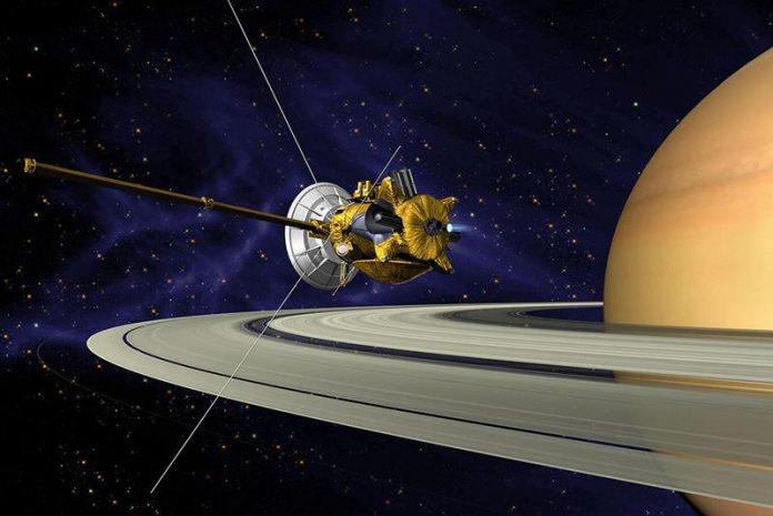 Cassini robotic spacecraft orbiting Saturn-astronomy quiz