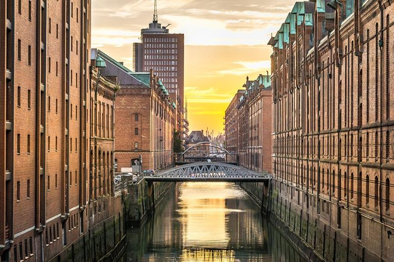 Hamburg canal-The district Speicherstadt-Venice of the North